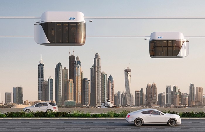 skyway, Yunitskiy, string transport, development, UAE, German media, article